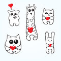 Doodle animals with hearts set valentines day Royalty Free Stock Image