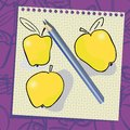 Doodle apples on paper  background. Royalty Free Stock Images