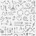 Doodle arrows collection. Hand drawn Black arrow set elements. vector Royalty Free Stock Photo
