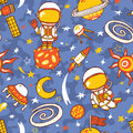 Doodle astronauts pattern of space collection. Royalty Free Stock Photo