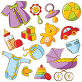 Doodle Baby Icon Set Stock Photos