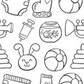 Doodle Of Baby Object Collecti...