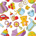 Doodle Baby Seamless Pattern Royalty Free Stock Images