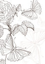 Doodle background with roses and butterflies Stock Images