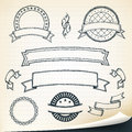 Doodle banners and design elements illustration of a set of hand drawn sketched ribbons on vintage retro school paper background Royalty Free Stock Image