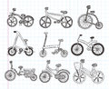 Doodle bicycle icons cartoon vector illustration Stock Photo