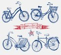 Doodle bicycle set Royalty Free Stock Photo