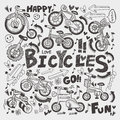 Doodle bike element cartoon vector illustration Royalty Free Stock Images