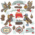 Doodle birds,label,ribbon,wood decor.Winter woodland Royalty Free Stock Photo