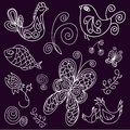 Doodle birds, leaves, fish and butterflies Royalty Free Stock Photo