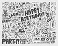 Doodle birthday party background cartoon vector illustration Stock Image