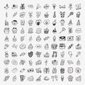 Doodle birthday party icons set cartoon vector illustration Royalty Free Stock Photos