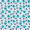 Doodle blue strawberries and black flowers silhouette seamless pattern. Perfect for scrapbooking, textile and prints. Royalty Free Stock Photo