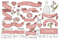 Doodle bridal shower ribbons,border,decor elements Royalty Free Stock Photo