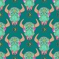 Doodle bull skull, seamless pattern