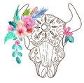 Doodle bull skull with watercolor flowers and feathers