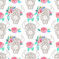 Doodle bull skull with watercolor flowers and feathers, seamless