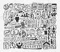 Doodle business element cartoon vector illustration Stock Photos