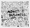 Doodle business element cartoon vector illustration Royalty Free Stock Photos