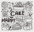 Doodle cake element cartoon vector illustration Royalty Free Stock Photography