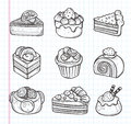 Doodle cake icons cartoon vector illustration Stock Photos