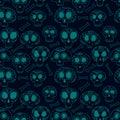 Doodle calavera sugar skulls in blue, halloween or dia de muertos seamless pattern, vector