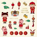 Doodle cartoon chinese new year, chinese font character is mean ` happy chinese new year ` and ` lucrative `