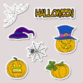 Doodle cartoon patch badges or stickers Halloween theme. Pumpkin, hat, spider web, spider in hand drawing style. Vector set Royalty Free Stock Photo