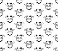 Doodle cartoon seamless pattern with cows.