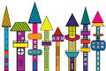 Doodle castle stylized colored houses towers Royalty Free Stock Photography