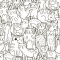 Doodle cats seamless pattern. Black and white cute cats background