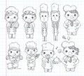 Doodle chef icons cartoon vector illustration Stock Photography