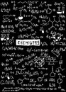 Doodle chemistry formulas texture background and Royalty Free Stock Image