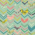 Doodle chevron seamless repeat pattern design