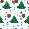 Doodle Christmas pattern with Snowmen and Santa