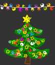 Doodle Christmas tree Stock Photo