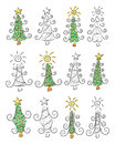 Doodle christmas trees an illustration of many Royalty Free Stock Photos