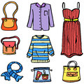Doodle of clothes set style women