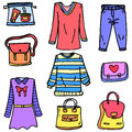 Doodle of clothes set for women