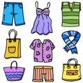 Doodle of clothes women object set