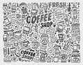 Doodle coffee element background cartoon illustration Stock Photo