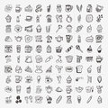 Doodle coffee element icons set cartoon vector illustration Stock Photos