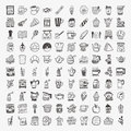 Doodle coffee element icons set cartoon vector illustration Stock Images