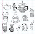 Doodle coffee icons cartoon vector illustration Royalty Free Stock Photos