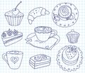 Doodle coffee set scribble cartoon illustration Stock Image