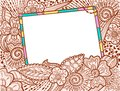 Doodle color frame decorate by floral ornament Royalty Free Stock Images