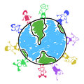 Doodle color kids around the world Royalty Free Stock Photo
