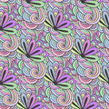 Doodle colorful pattern with flowers in vector. Zentangle coloring page. Creative seamless background for textile, wrapping paper