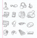 Doodle computer icons cartoon illustration Royalty Free Stock Photos