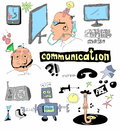 Doodle concept of communication hand drawn background Royalty Free Stock Photos